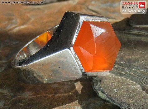 انگشتر نقره عقیق یمن شش گوش تراش هندسی مردانه دست ساز
