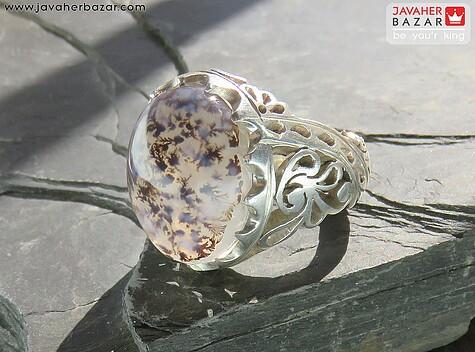 انگشتر نقره عقیق شجر قائنات زیبا و خوش نقش مردانه دست ساز