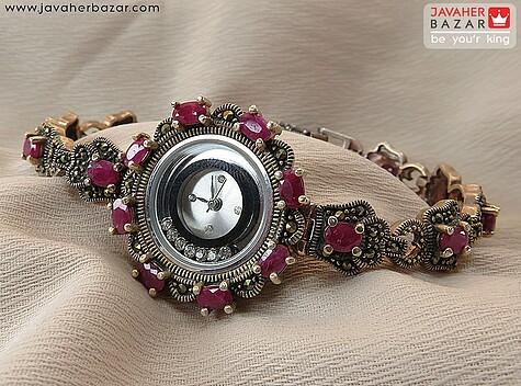 ساعت مچی نقره یاقوت فاخر زنانه
