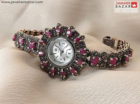 ساعت مچی نقره یاقوت زیبا زنانه