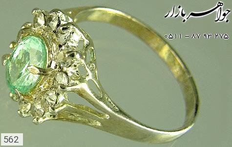 انگشتر نقره زمرد طرح شکوفه زنانه - 562