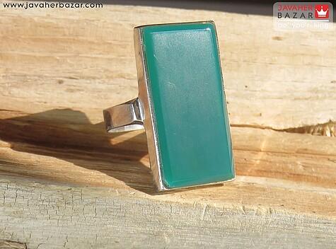 انگشتر نقره عقیق سبز چهارگوش درشت مردانه - 56671