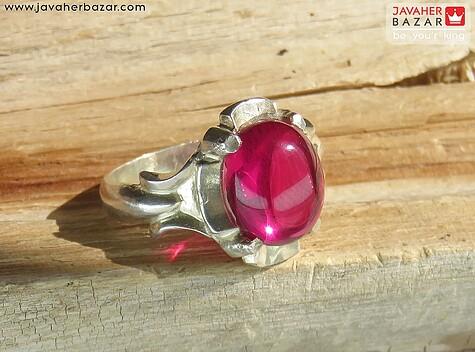 انگشتر نقره یاقوت سنتاتیک کلاسیک مردانه - 56683