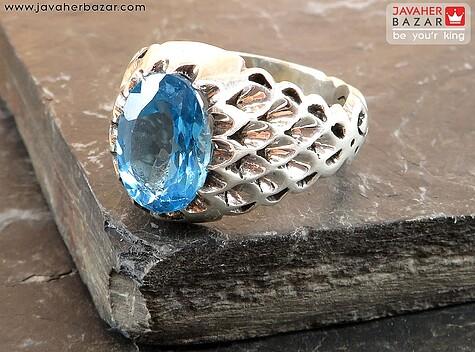 انگشتر نقره توپاز طرح سلطنتی مردانه - 57481