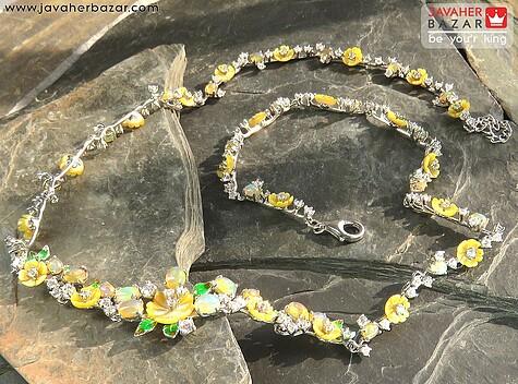 سینه ریز نقره اپال و صدف طرح جواهری فاخر - 57755