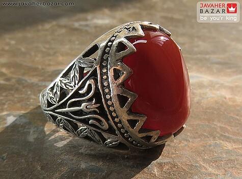 انگشتر نقره عقیق طرح سلطنتی مردانه - 57793