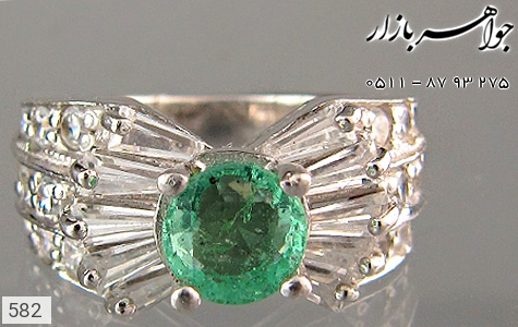انگشتر نقره زمرد پرنسسی زنانه - 582
