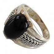 انگشتر نقره عقیق سیاه طرح سیاه قلم زنانه