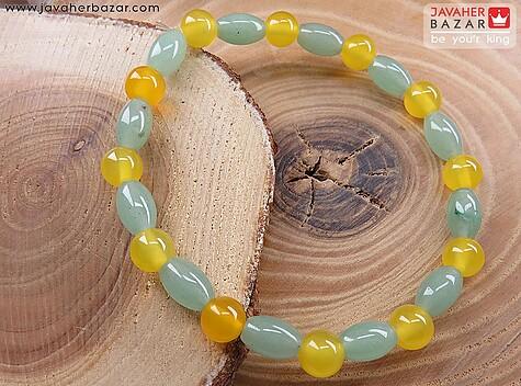 دستبند عقیق و جید زیبا و خوش رنگ زنانه