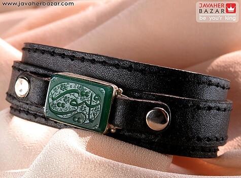 دستبند نقره عقیق و چرم حکاکی یا رقیه مردانه