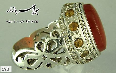 انگشتر نقره عقیق دور یاقوت زرد دست ساز - 590