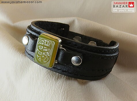 دستبند نقره عقیق و چرم طبیعی حکاکی یا حسین مردانه