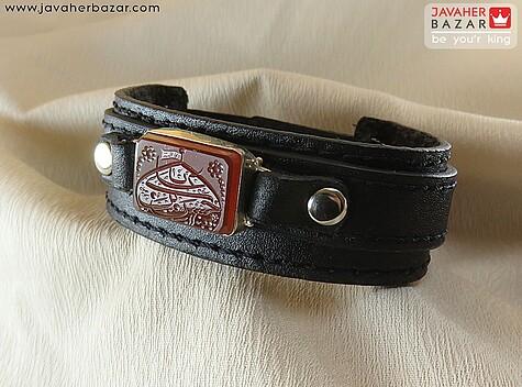 دستبند نقره عقیق و چرم طبیعی مردانه