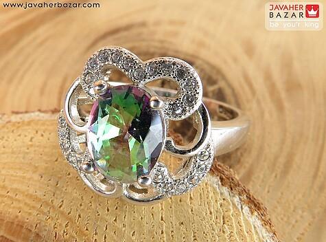 انگشتر نقره توپاز هفت رنگ سنتاتیک زنانه