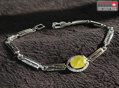 دستبند نقره یاقوت آفریقایی زرد و ظریف زنانه