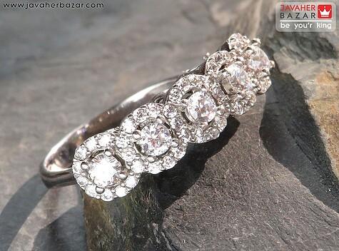 انگشتر نقره جواهری طرح پرنسس زنانه