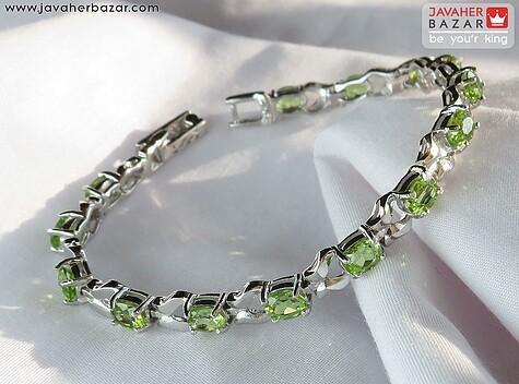دستبند نقره زبرجد فاخر و شفاف زنانه