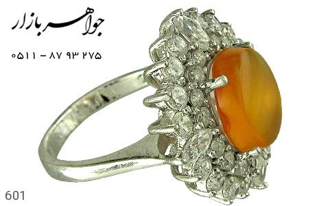 انگشتر نقره عقیق شرف الشمس زنانه - 601