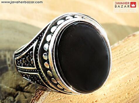 انگشتر نقره عقیق سیاه میکروستینگ مردانه - 60134