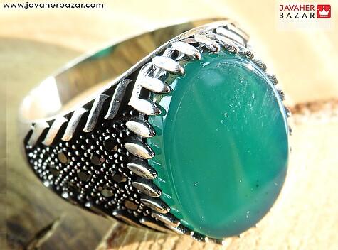 انگشتر نقره عقیق سبز میکروستینگ مردانه - 60158