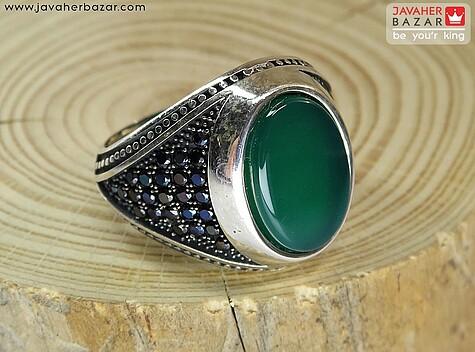 انگشتر نقره عقیق سبز میکروستینگ مردانه