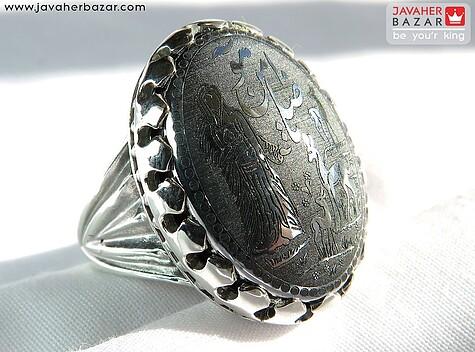 انگشتر نقره حدید درشت حکاکی یا ضامن آهو مردانه - 60504