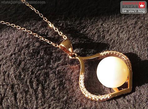 مدال نقره مروارید طرح جواهری با زنجیر نقره