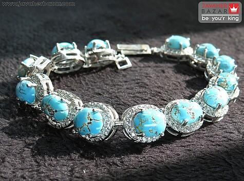 دستبند نقره فیروزه نیشابوری جذاب زنانه
