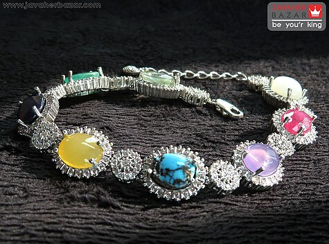 دستبند نقره چندنگین زیبا زنانه