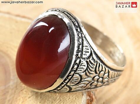 انگشتر نقره عقیق قرمز زیبا مردانه - 61004
