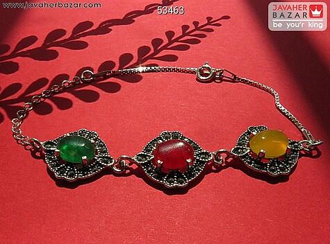 دستبند نقره عقیق شرف الشمس زنانه