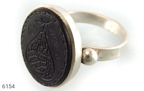 انگشتر نقره یشم اعلاء حکاکی شگفت انگیز بسم الله طرح دار دست ساز - 6154