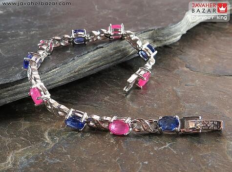 دستبند نقره یاقوت آفریقایی کبود و قرمز لوکس زنانه - 61557