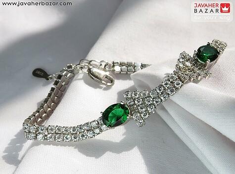 دستبند نقره زمرد سنتاتیک شیک زنانه