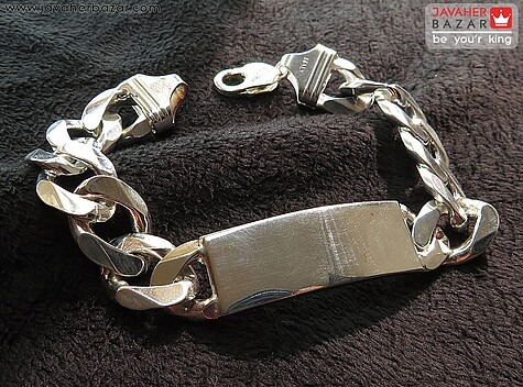 دستبند نقره پلاک دار لاکچری درشت مردانه