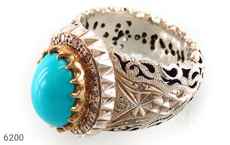 انگشتر نقره فیروزه نیشابوری خارق العاده و نایاب دور برلیان اصل مردانه دست ساز - 6200