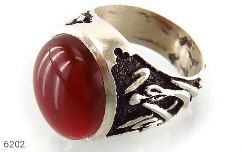 انگشتر نقره عقیق یمن سرخ آبدار رکاب قلم زنی سه بعدی مردانه - 6202