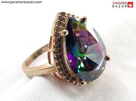 انگشتر نقره توپاز هفت رنگ سنتاتیک لوکس زنانه