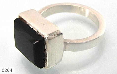 انگشتر نقره عقیق یمن سیاه طرح کلاسیک دست ساز - 6204