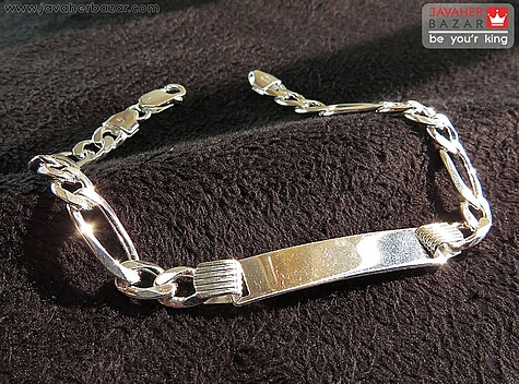 دستبند نقره پلاکدار جذاب مردانه