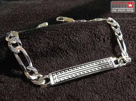 دستبند نقره پلاکدار طرحدار لوکس مردانه