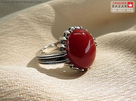 انگشتر نقره عقیق سرخ جذاب مردانه