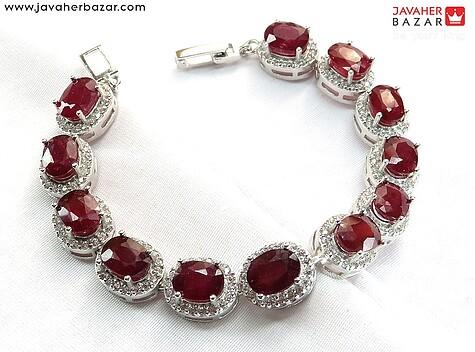 دستبند نقره یاقوت آفریقایی سرخ درجه یک و لوکس زنانه