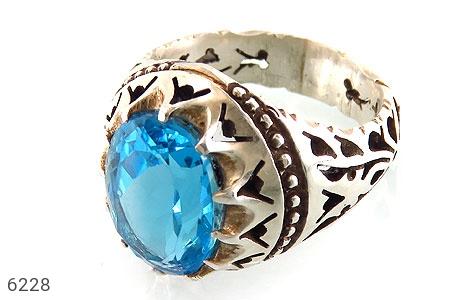 انگشتر نقره توپاز آبی باشکوه مردانه دست ساز - 6228