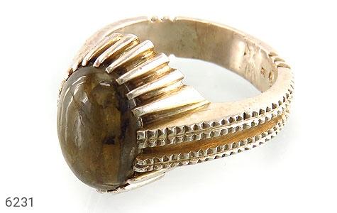 انگشتر نقره اپال خوش رنگ طرح ابروباد مردانه - 6231