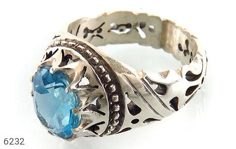 انگشتر نقره توپاز آبی باشکوه مردانه دست ساز - 6232