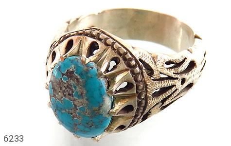 انگشتر نقره فیروزه خوش طبع مردانه دست ساز - 6233