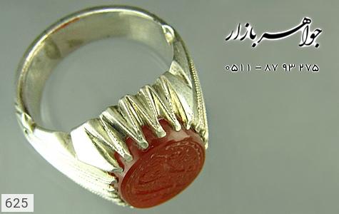 انگشتر نقره عقیق خطی مردانه دست ساز - 625