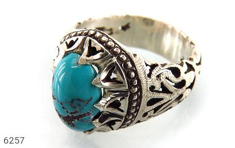 انگشتر نقره فیروزه نیشابوری دست ساز مردانه دست ساز - 6257