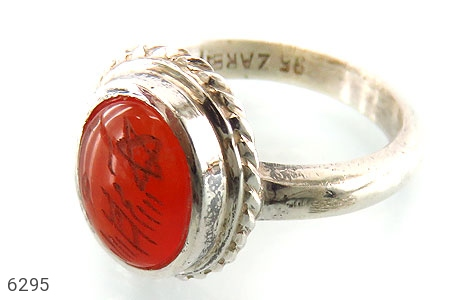 انگشتر نقره عقیق شرف الشمس دست ساز - 6295